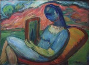 Djevojka u prirodi s ogledalom