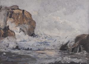 Emil Jakob Schindler, Morske stijene kod Dubrovnika, 1887/1888. ulje na dasci, 26 x 35,8 cm Leopold Museum, Beč