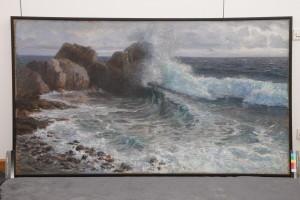 Menci Clement Crnčić, Lom valova o stijenu, 1906. ulje na platnu, 116 x 206 cm Muzej likovnih umjetnosti, Osijek